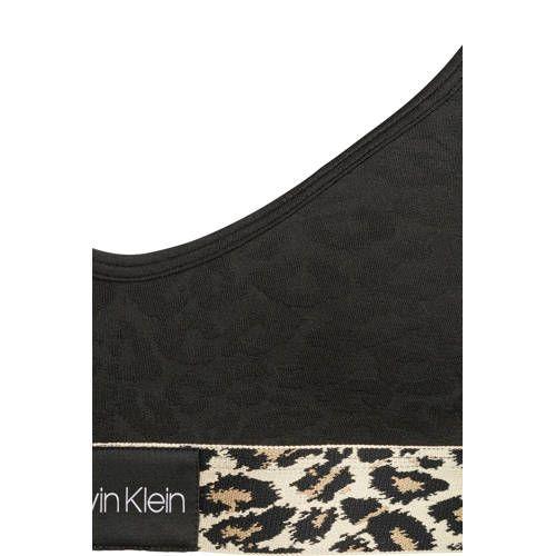 Calvin Klein Underwear bralette met panterprint zwart