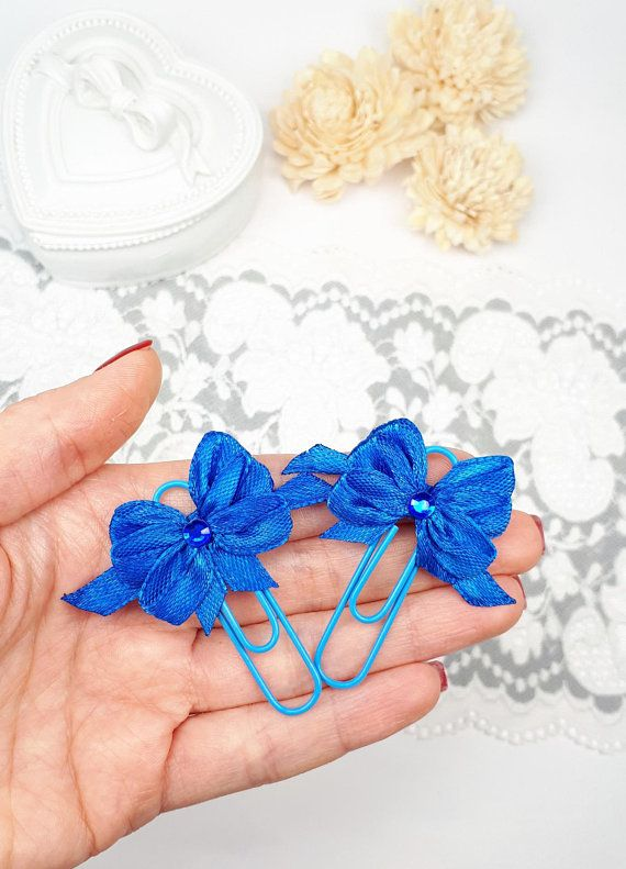 Navy Blue Planner Dividers Bow Planner Clips Blue Ribbon