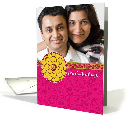 Photo Cards / Your Picture Here card: Bright Flower with Sari Pattern - Diwali Customized Photo Greeting  Card by Corrie Kuipers
