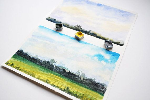 Distant Fields Watercolor Paintings /  by SundayWatercolor on Etsy