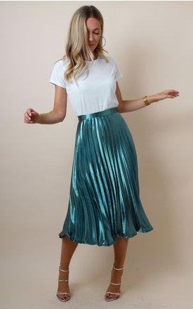 Metallic Satin Pleated High Waist Midi Skirt - Teal by Pretty Lavish (Silk  Fred) 16c4f9cfc