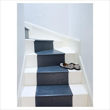 white and gray stairs | GAP Interiors - Stairway with painted steps - Picture library ...