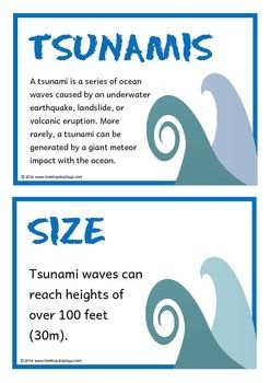A set of 18 A5 printable fact cards that give useful facts about tsunamis. Each fact card has a key word heading, making this set a fantastic topic word wall! Visit our TpT store for more information and for other classroom display resources by clicking on the provided links.