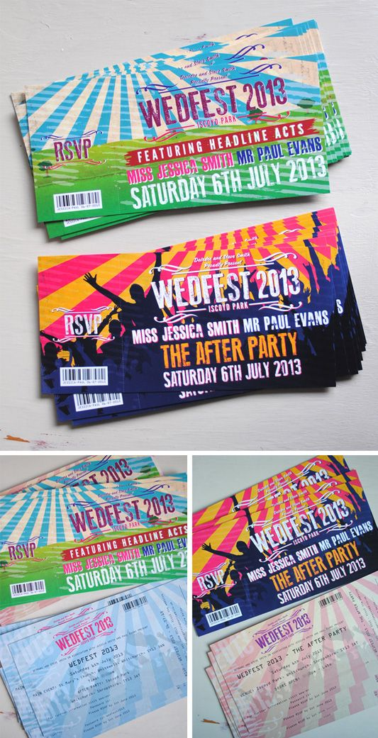 Festival Ticket Wedding Invites by Marty McColgan: I like the afterparty one!