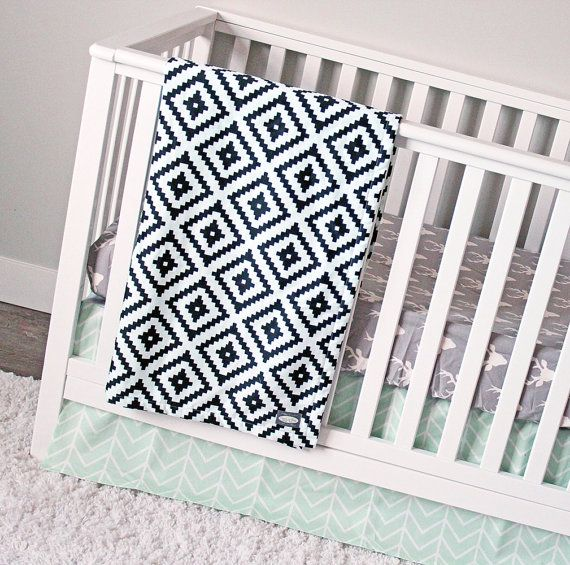 Mint and Black Nursery Bedding, Woodlands Crib Bedding
