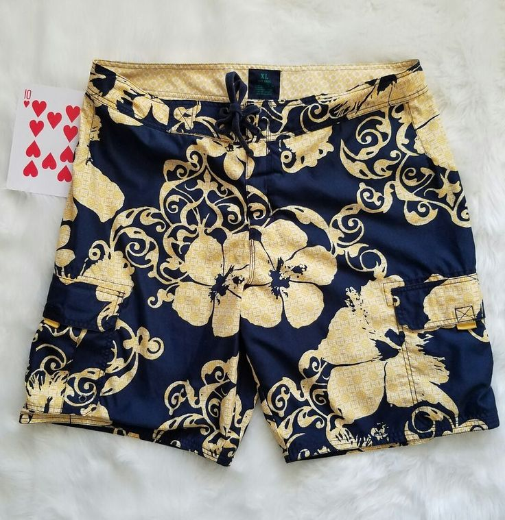 Old Navy Mens Swim Trunk XL Blue Yellow Floral Lined Back Pocket Lace Tie Close #OldNavy #SwimBriefs