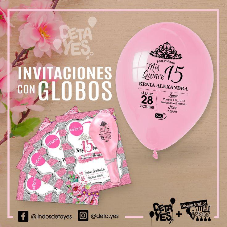 Novedosas Invitaciones para Quince Años con Globos Personalizados somos @deta_yes , Envíos a Toda Colombia, Pedidos 31856657519