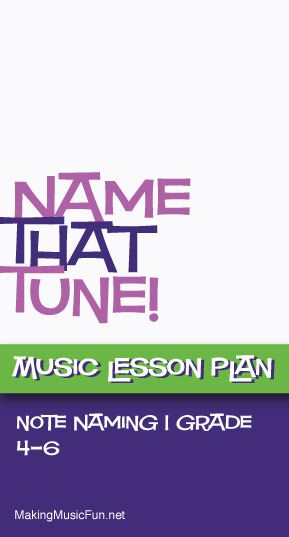 Name That Tune! | Free Music Lesson Plan/Game and Worksheet - http://makingmusicfun.net/htm/f_mmf_music_library/name_that_tune_lesson.htm