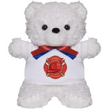 Firefighter's Badge Teddy Bear from cafepress store: AG Painted Brush T-Shirts. #teddybear #toy #firefighter