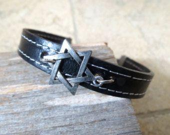 Herren Armband - Männer Star Of David Armband - Männer schwarzes Armband - Männer Leder-Armband - Herren Schmuck - Herren Geschenk - Jungs Geschenk - Freund