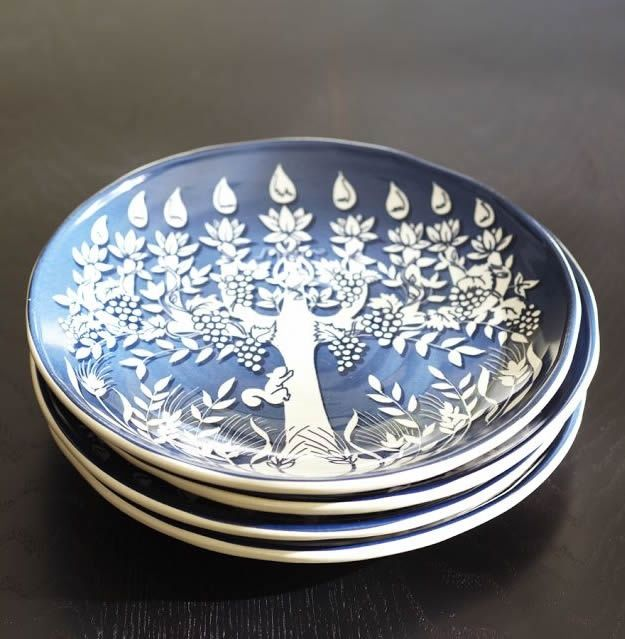 Gorgeous Hanukkah Tree Of Life Plates From Pottery Barn