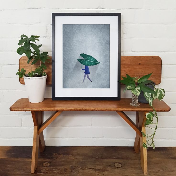 Don't get caught without your brolly. Leaf Umbrella Art Print by Paula Kuka | Common Wild. Nursery Art / Kids Interiors / Kids Room Style