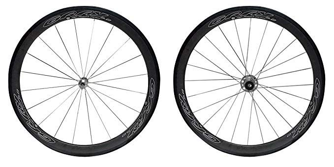 Gray 50mm Tubular Carbon Wheel Set For 10 11 Speed Sram Shimano