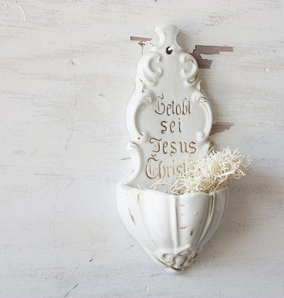 Antique German Holy Water Font by ClothandPatina on Etsy, for entry/mudroom