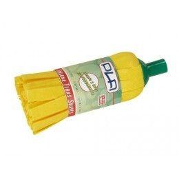 Una fregona de tiras amarillas para suelos de interior o poco abrasivos.