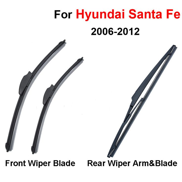QEEPEI Combo Silicone Rubber Front And Rear Wiper Blades For Hyundai Santa Fe,2006-2012,Windscreen Wipers Car Accessories