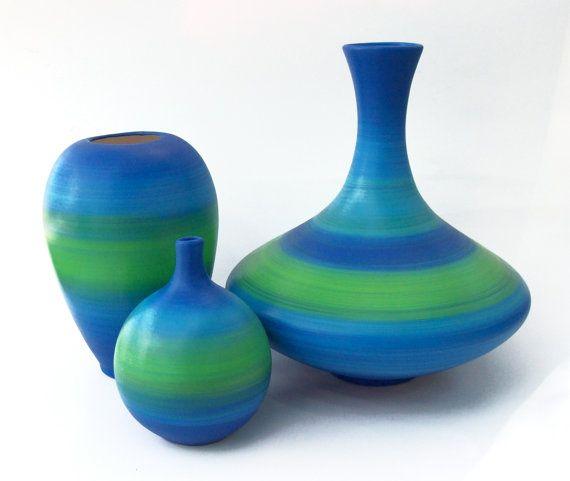 Deep Sea Ceramic Vase Set by TheHeadsCreation on Etsy, $60.00