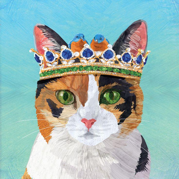 Princess Grace Napkin 33x33 cm #ppd #paperproductsdesign #twocanart #design #animals #tiere #cat #katze #crown #krone #napkin #serviette