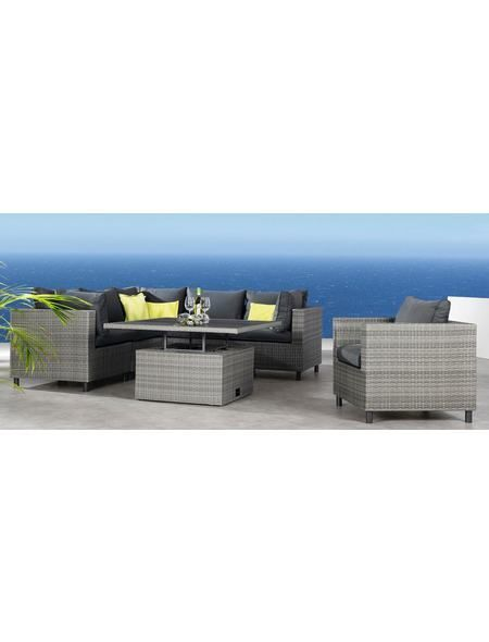 Loungeset »Bonaire«, 3 Eck , 2 Mittelteile, Höhenverstellbarer Tisch,  Polyrattan, Grau Jetzt Bestellen Unter: Https://moebel.ladendirektu2026