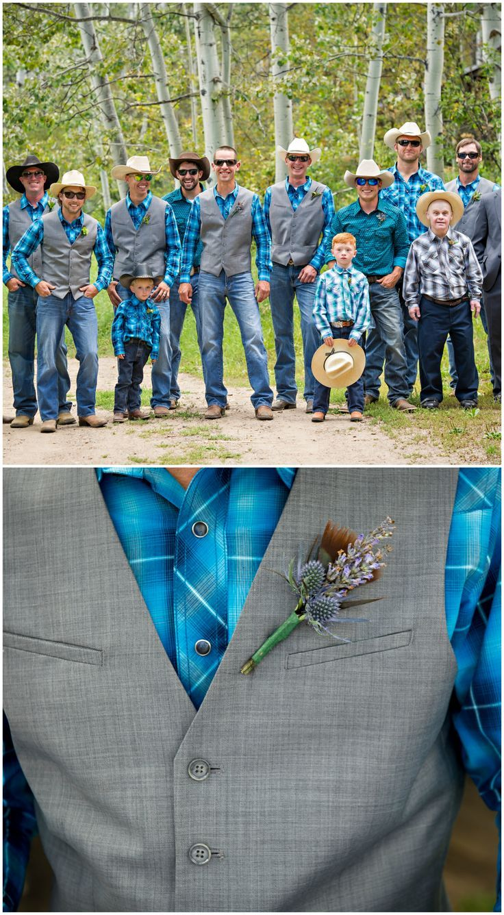 Country-Western wedding, groomsmen outfits, gray vests, blue plaid button-down shirts, cowboy hats // Mark Creery Photography (scheduled via http://www.tailwindapp.com?utm_source=pinterest&utm_medium=twpin)