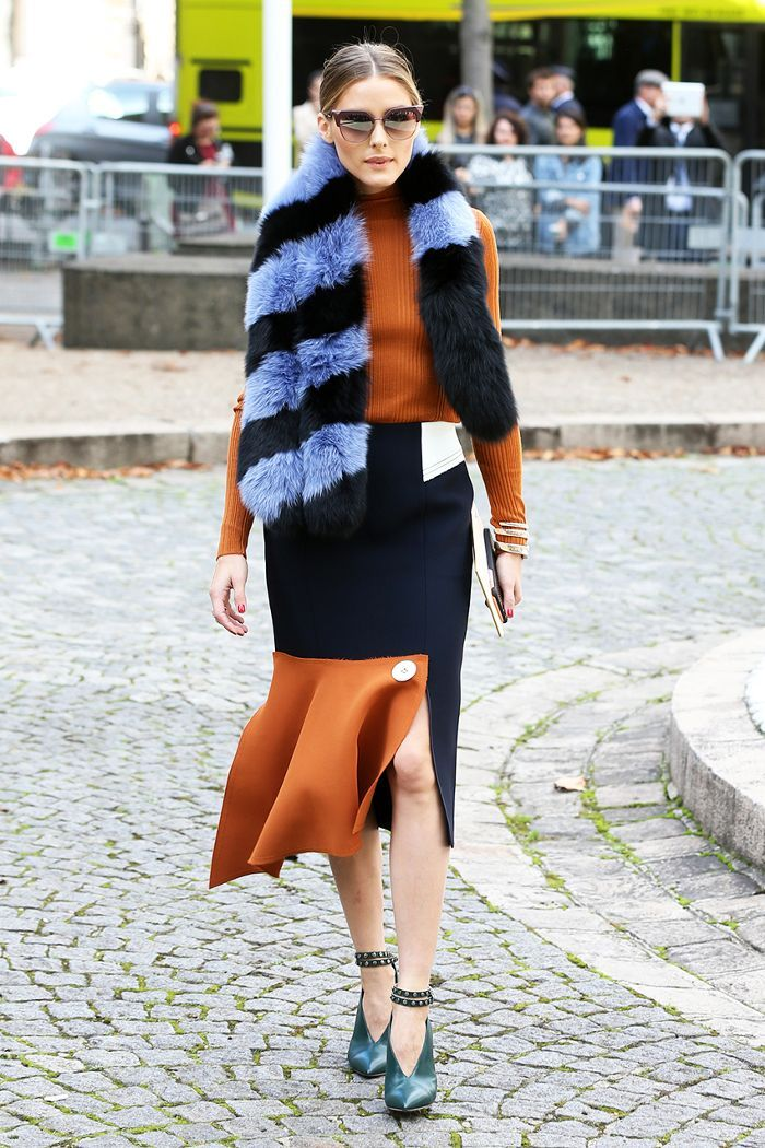 See how Olivia Palermo styles asymmetrical midi skirts; then shop our own affordable version for Target!
