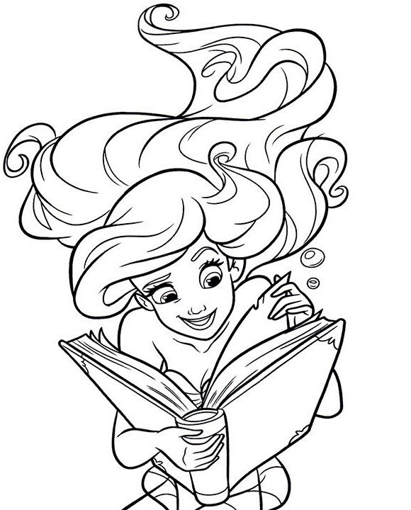 - Ariel Reading A Book Coloring Page Disney Princess Coloring Pages,  Mermaid Coloring Pages, Cartoon Coloring Pages