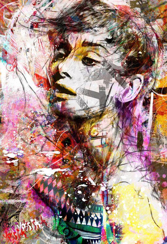 yossi kotler art- portrait- giclee print embellished