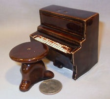 Vintage Brown Piano & Stool Salt & Pepper Shakers