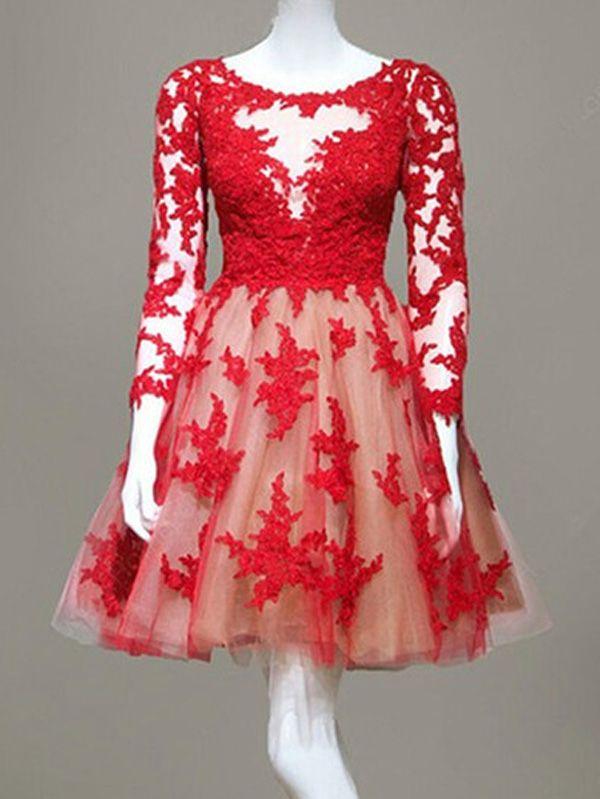 Tüll Abschlusskleider Abiballkleider rot