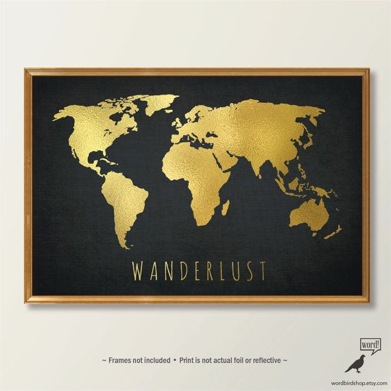 Chic Gold World Map World Map Print Black and Gold door WordBirdShop