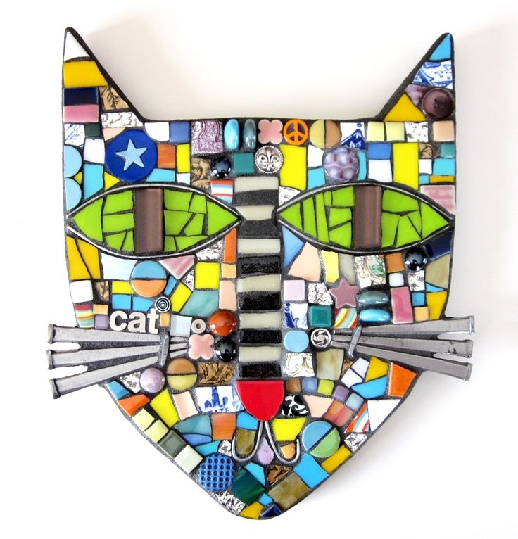 Mosaic Cat. mixed Media mosaic cat wall décor contemporary art vintage nail whiskers stained glass