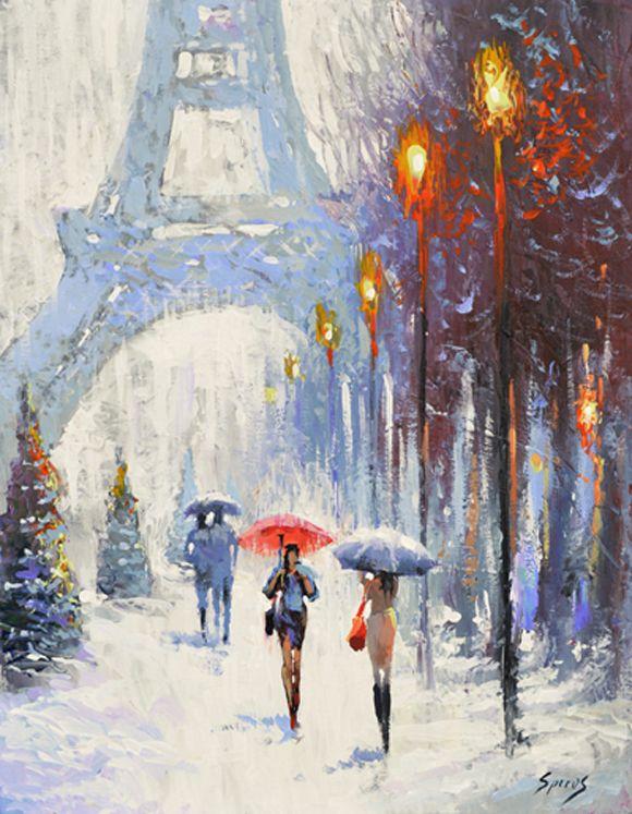 "Parisian landscape — PALETTE KNIFE Oil Acrylic Painting on Canvas by Dmitry Spiros Size 24x32"" 60cm x 80cm"