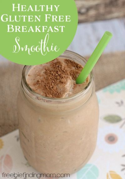 Healthy Gluten Free Breakfast Smoothie - Healthy gluten free breakfast foods don't get any easier or more delicious than this breakfast smoothie. It's like drinking a peanut butter shake for breakfast. The entire family will love it!