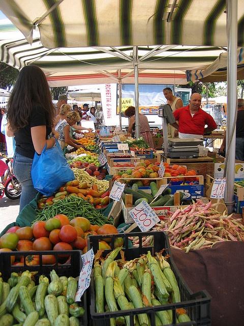 ITALY........ MARINA DI PIETRASANTA.  Saturdays Food market, Marina di Pietrasanta, Tuscan coast.