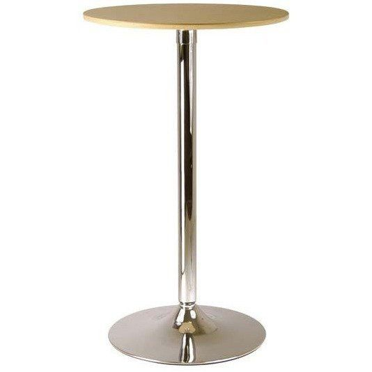 Winsome Round Pub Table Veneer wood top with metal base