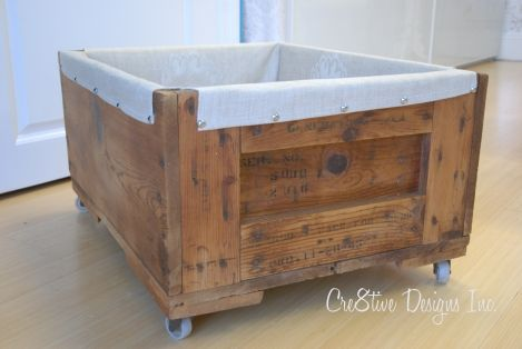lined crate on wheels- must do :)