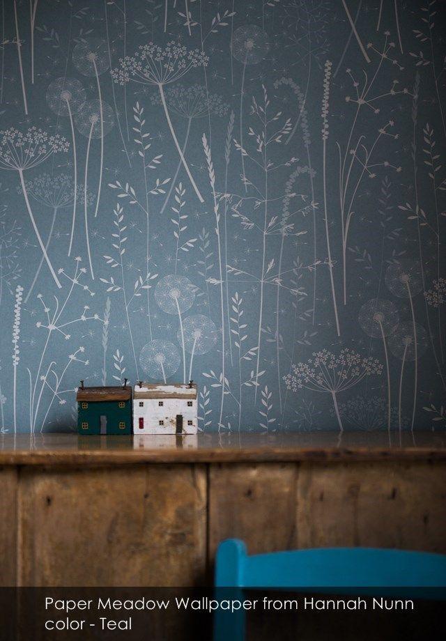 Paper Meadow wallpaper from Hannah Nunn in Teal