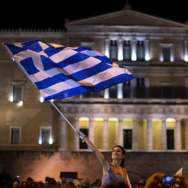 """From @liisaazzz, #Syntagma Square, #Athens, #Greece after the #greferendum result, 5 July 2015. _____________________________ #Democracy in action.…"""