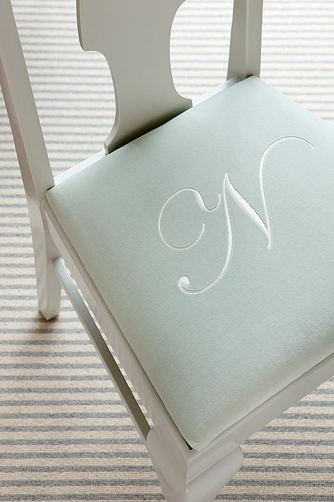 Monogram on mint chair seat. Want to do this when I recover the dining chairs (again), hehe...
