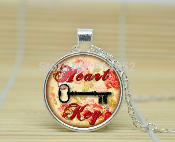 1 шт. ключ к счастью кулон ключ к моему сердцу ожерелье ключ к успеху украшения из стекла кабошон ожерелье A2501