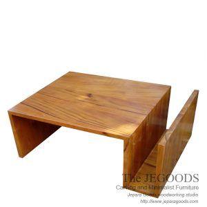 Model meja tamu zig zag coffee table teak minimalist contemporary furniture modern by The Jepara Goods Woodworking Studio Indonesia. #teakfurniture #minimalistcoffeetable #minimalistfurniture #indonesiafurniture #teakcoffeetable