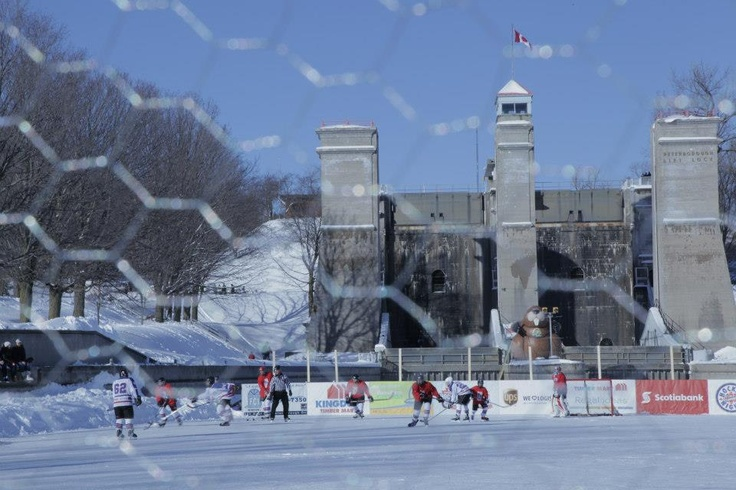 Minor hockey players face-off on a frozen canal in Peterborough.