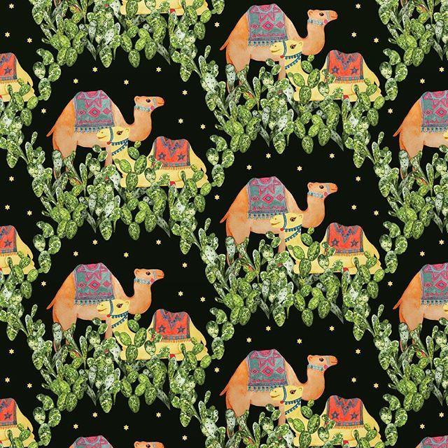 pattern design, Eva Lechner, camel, cactus