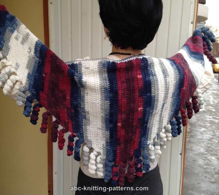 ABC Knitting Patterns - Small Sideways Shawl with Corkscrew Fringe