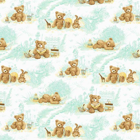 Nursery Fabric- Teady Bear Toile Flannel