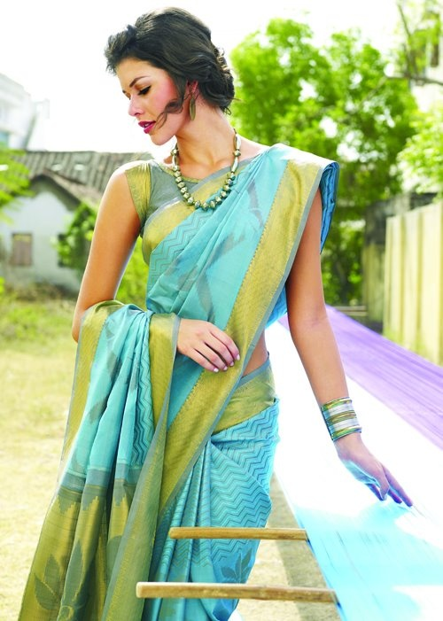 Blue and light green silk saree