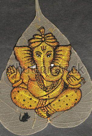Ganesha painted on leaf