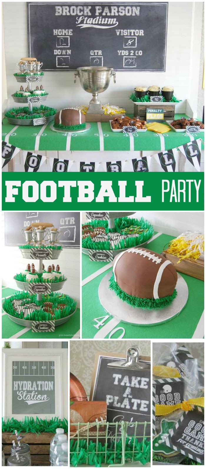 A football boy birthday party with cupcakes, a football cake and a cool dessert table with goal posts! See more party planning ideas at CatchMyParty.com!