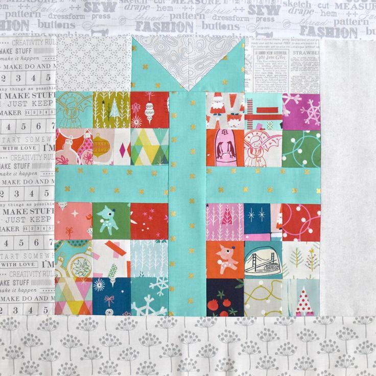 Pixelated Present :: Free Quilt Block Pattern (Clover \u0026 Violet)