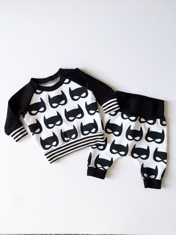 Newborn Baby Boy Batman Shirt and Pants Baby Superhero by HipMingo